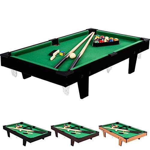 Mini Pool Billardtisch inkl. Zubehör (2 Queues, Kugeln, Dreieck, Kreide, Bürste), 3 Dekore, Maße: 92x52x19cm