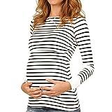 MU CHAO Damen Multifunktions-Stilloberteile Schwangere Stilloberteile für Mutterschaft Gestreifter dünner Pullover T-Shirt-Mantel-Pullover