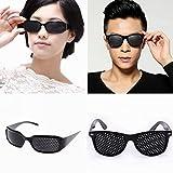 2er set Rasterbrille / Lochbrille schwarz für Augentraining zur Entspannung Pinhole Glasses Gitterbrille mit faltbaren Bügeln.