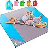 AMZOON 215 x 215 cm XXL Picknickdecke Wasserdicht Stranddecke Decke Für Ausflüge Beach Strandmatte (Sky Blue+Grey)