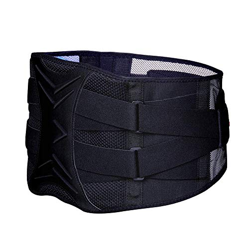 ZHIJING Rückenbandage mit Stützstreben und Verstellbare Zuggurte und atmungsaktiver Nylonstoff ideal für Arbeitsschutz entlastet die Rückenmuskulatur und zur Haltungskorrektur (L/XL 81-98cm)
