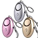 Taschenalarm - 140 dB Safesound Personal Alarm mit Taschenlampe Schlüsselanhänger, Panikalarm Selbstverteidigung Sirene für Frauen Kinder (3 Stücke)