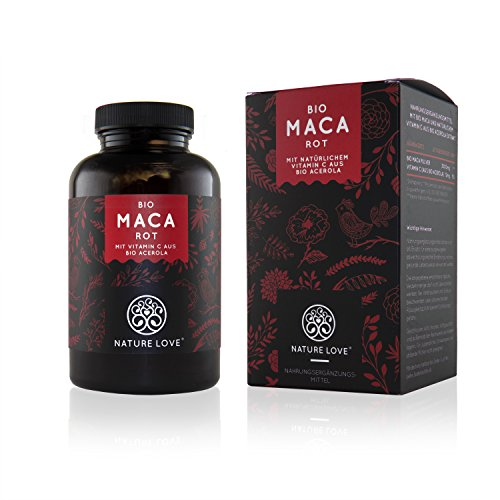Bio Maca Kapseln mit 3000 mg Bio Maca rot pro Tagesdosis. 180 Kapseln. Mit natürlichem Vitamin C. Ohne Zusätze wie Magnesiumstearat. Zertifiziert Bio, hochdosiert, vegan, hergestellt in Deutschland