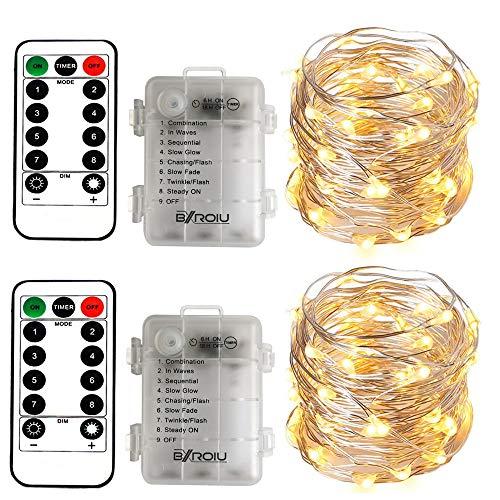 2 x50Leds Silbernedraht Micro Lichterkette Batteriebetrieb 8 Programm (Warmweiß)