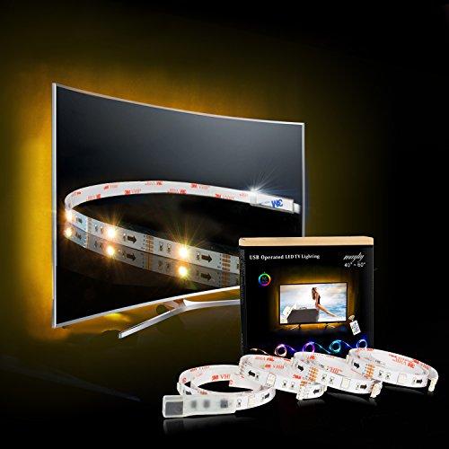 LED Strip,TV Hintergrundbeleuchtung 2M/6.56ft USB LED Streifen Für 40 bis 60 HDTV RGB LED TV Beleuchtung mit 24keys Remote,LED Fernseher Beleuchtung