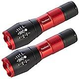 Readaeer Superhelle CREE T6 LED Taschenlampe Zoombar Wasserdicht Camping Handlampe für Outdoor Sports(Rot Doppel)
