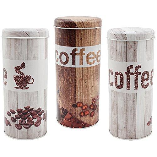 COM-FOUR 3x Kaffeepaddosen, Dekodose, Aufbewahrungsbehälter für Kaffeepads im Vintage Look in verschiedenen Farben (3 Stück - Set Vintage)