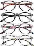 VEVESMUNDO Lesebrillen Damen Herren Federscharnier Lesehilfe Augenoptik Vintage Retro Qualität Vollrandbrille 1.0 1.25 1.5 1.75 2.0 2.25 2.5 3.0 3.5 (4 Stück (Schwarz+Leopard+Rosa+Gelb), 1.5)