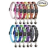 HOMIMP 12PCS Katze Halsbänder Quick Release Reflektierende Sicherheit Nylon Halsbänder mit Glocke 20,3cm–12'