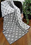 Baumwolldecke Wohndecke Kuscheldecke Tagesdecke 100% Baumwolle sehr weiches Plaid Korsika (Grau-Weiß (Stern), 140 x 205 cm)