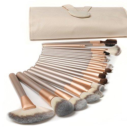 Nestling 18 Stück professionelle Kosmetik Make-up Pinsel Werkzeuge Kosmetik Make-up-Pinsel-Set mit Roll up PU-Leder Tasche, Holzgriff