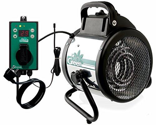 Bio Green Elektrogebläseheizung Palma digital, silber/schwarz, 2000 Watt (inkl. Digital-Thermostat) IP X4 Spritzwassergschützt für Gewächshäuser