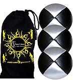 Jonglierbälle 3er Set - Profi Beanbag Bälle aus Glattleder (Leather)+Tasche. Set Ideal Für Anfänger Wie Auch Für Profis. (Schwarz/Silber)