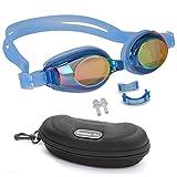 Bezzee-Pro Kinder Schwimmbrillen, rutschfest, wasserdicht, lecksicher, qualitativ hochwertig, farbige Silikon-Kopfriemen, vernebeln nicht, farbige Gläser, einstellbarer Nasensteg