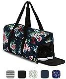 Ela Mo's elegante Sporttasche Reisetasche mit Schuhfach | 38 Liter Handgepäck Weekender | für Frauen und Männer | in 6 trendigen Designs - 'A Rose is A Rose'