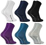Rainbow Socks 6 Paar Antirutschsocken by BAUMWOLLE Reich, ideal für: Glatte Fußböden, Yoga, Trampolinspringen| DUNKLE FARBEN 36-38, Oeko-Tex-Zertifikat, in EU produziert