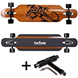 FunTomia Longboard Skateboard Drop Through Cruiser Komplettboard mit Mach1 ABEC-11 High Speed Kugellager T-Tool (Modell Freerider2 Bambus Fiberglas - Farbe Gecko + T-Tool)