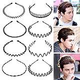 Augoog 8 Stücke Unisex Schwarz Multi-Stil Frühling Welle Metall Haarband Stirnband Haarbänder Haarreif Flexible Stirnband Zubehör