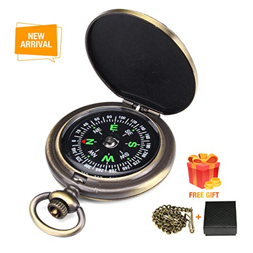 Charminer Kompass Outdoor,Premium Portable Messingkompass Klassischer Sprungdeckel Wasserdichter Marschkompass Taschenuhr Flip-Open Navigation Tools mit Leuchtziffern für Camping Wandern
