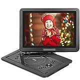 QKK 14.1' tragbarer DVD Player, Auto DVD Player, 5 Stunden Akku, 270°drehbares HD Display, unterstützt USB und SD Karte, USB Datenreplikation Funktion, Schwarz. (14.1 Inch)