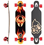 BIKESTAR Premium Canadian Maple Drop Through Flush Cut Pro Longboard Skateboard für Kinder auch Anfänger ab ca. 6-8 Jahre  65mm Kids Cruiser/Dancer Edition  Fire Skull Beats Design