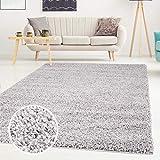 ayshaggy Shaggy Teppich Hochflor Langflor Einfarbig Uni Grau Weich Flauschig Wohnzimmer, Größe: 133 x 190 cm