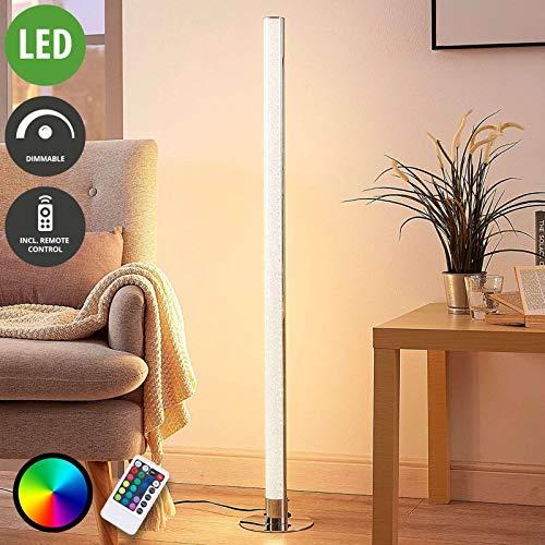 Lampenwelt LED Stehlampe 'Hadis' dimmbar mit Fernbedienung (Modern) in Chrom u.a. für Wohnzimmer & Esszimmer (1 flammig, A+, inkl. Leuchtmittel) - LED-Stehleuchte, Floor Lamp