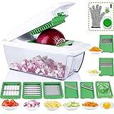 8 in 1 Einstellbar Spiralschneider Hand für Gemüsespaghetti, Gemüseschneider, Gemüsehobel, Eiertrenner, Julienne Schneider mit Bürste, Handschutz und Schäler