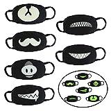 CODIRATO 6 Stück Baumwolle Maske Wiederverwendbarer Mundschutz Maske Kawaii Maske Anti Staub,Wind für Damen, Herren, Kinder(Schwarz)