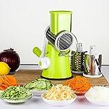 LEKOCH Manuelle Multi Gemüseschneider Gemüsehobel Trommelreibe Käsemühle Mit 3 Edelstahl Trommeleinsätze (Grün)