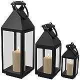 3er Set Laternen mit Henkel H55,5/40/25cm aus Metall /Glas Laternen Windlichter Gartendekoration Schwarz