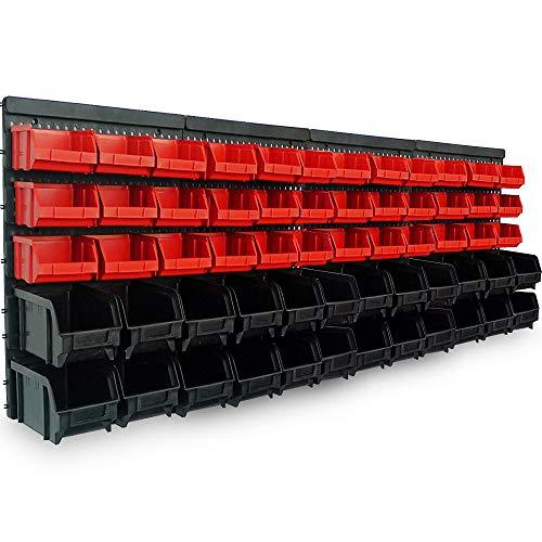 Deuba Wandregal + Stapelboxen | 64 tlg Box | extra starke Wandplatten | Regal erweiterbar | Werkstattregal Lagerregal Werkstattwandregal Steckregal