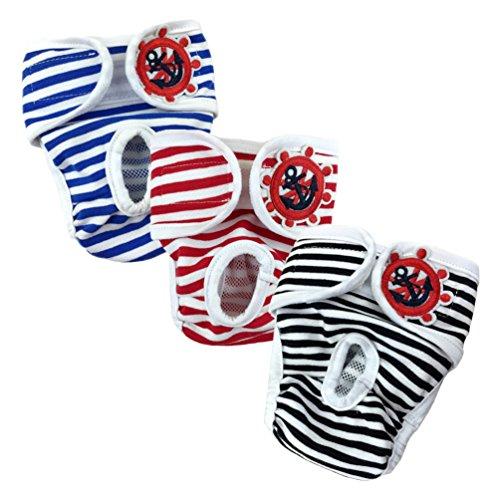Pet Leso Einstellbare und waschbare Hundewindeln Hund Hygieneunterhose mit Magictape Werke für kleine bis mittlere Hündchen - Schwarz, L