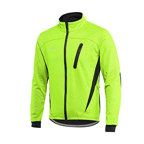 Arsuxeo Winter-Thermo-Fleece-Fahrradjacke, Winddicht, wasserdicht, atmungsaktiv, 16H, Herren, grün, XX-Large