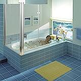Melko Eck-Duschabtrennung Badewannenaufsatz Faltwand Badewanne Badewannenfaltwand (70 + 120 x 140 cm, Klarglas)