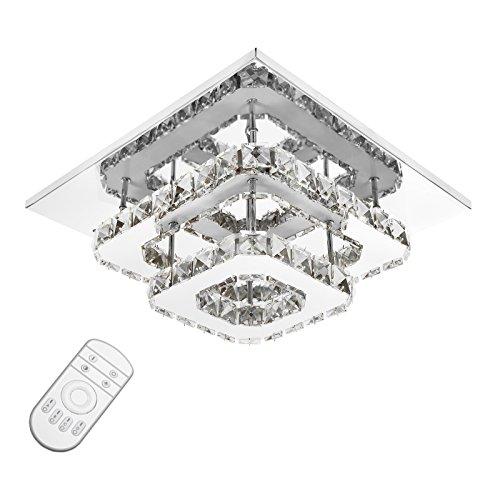 ETiME Kristall Deckenleuchte Dimmbar Kristall Deckenlampe LED Edelstahl Wandleuchte Kronleuchter für Flur, Gang, Balkon, Schlafzimmer (24W Dimmbar)