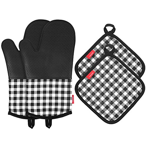 Esonmus Heat Resistant Silicone Oven Gloves Non-Slip Oven Mitts + 2 Cotton Pot Holders for Kitchen Cooking Baking Grilling Barbecue-Black Plaid
