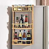 ecooe Bambus Gewürzregal Hängeregal für Kühlschrank mit 3 Ablagen Standregale Küchenregal 40x12x68cm (Installieren brauchen)