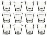 Teelichtgläser 12er Set 7,5 x 5,5 x 7,3 cm für Tischdeko, Gastgeschenke, Hochzeitsdeko, Partydeko etc.