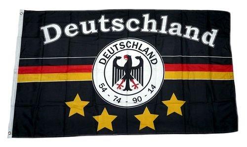 Fahne / Flagge Deutschland Fußball 4 Sterne Fan 90 x 150 cm