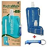 Faltbare, wiederverwendbare Wasserflasche. BPA-frei, 750ml. HydraMate Leichte, umweltfreundliche, nachfüllbare Flasche mit Sportverschluss und hygienischem Deckel. Mit Karabiner und Flaschenöffner! (Petrol Blue, 750 ml)