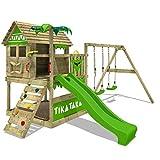 FATMOOSE Spielturm TikaTaka Town XXL Kletterturm mit Doppelschaukel, Rutsche und viel Spiel-Zubehör, apfelgrüne Rutsche