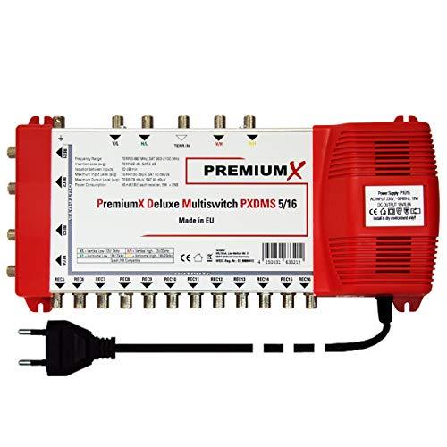 PremiumX Deluxe Multischalter PXDMS 5/16 SAT TV Matrix Signal-Verteiler Multiswitch 1 Satellit 16 Teilnehmer HDTV FullHD 4K UHD   5in 16out Quad-tauglich