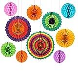 GoFriend Party-Dekoration, 10 bunte Wabenbälle zum Aufhängen, für Geburtstag, Hochzeit, Karneval, Baby-Partys etc.