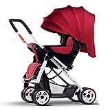 ZXLDP Kinderwägen Spaziergänger können sitzen Lie Down Light Portable Fold Vier Jahreszeiten Universal Baby Kinderwagen Sommer Neugeborenen und Junge Kinder 0-3 Jahre alt Prams ( Farbe : Rot )