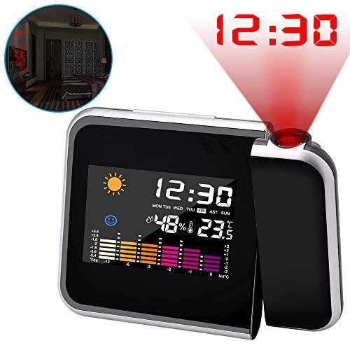ASANMU Projektionswecker, Digital Projektion Taktgeber mit Temperaturanzeige | Hygrometer/Innentemperatur/Wecker/Uhrzeit- und Datumsanzeige | 9,27 cm LCD-Farb-Displaybeleuchtung/LED-Backlight/Snooze