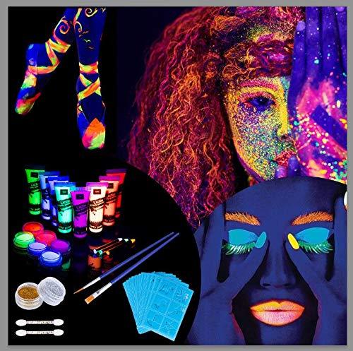Lictin UV-Licht Bodypainting Schwarzlicht Körperfarben Fluoreszierende Farben Schminke