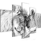 Bilder Löwen Liebe Wandbild 150 x 100 cm Vlies - Leinwand Bild XXL Format Wandbilder Wohnzimmer Wohnung Deko Kunstdrucke Grau 5 Teilig -100% MADE IN GERMANY - Fertig zum Aufhängen 002153c