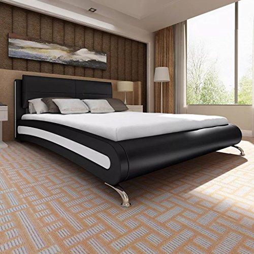 cangzhoushopping Kunstlederbett mit Matratze und Füßen schwarz/weiß 180 x 200 cm Möbel Betten Zubehör Betten Bettgestelle