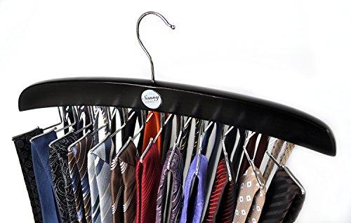 Edler Krawattenhalter/Krawattenbügel aus Holz von Sunny Sunday, Aufbewahrung für 24 Krawatten, schwarz